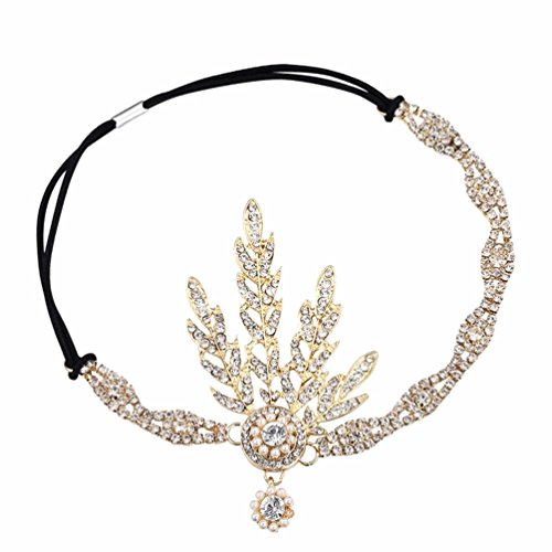 TOP-VRA Handmade Crystal Rhinestones Wedding Party Head Band Bridal Women Hair Accessorie Headpieces (Flower Charm-Golden) by TOP-VRA