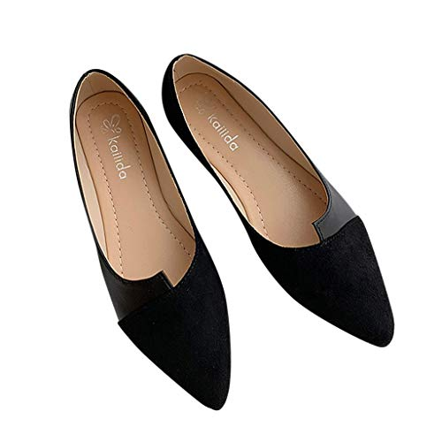 Vowes Fashion Women Casual Splice Color Flats Pointed Toe Flat Slip-On Irregular Shallow Mouth Shoes Black ()