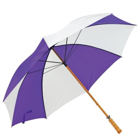 Elite Rain Premium Wood Shaft Golf Umbrella- Purple/White- One Size