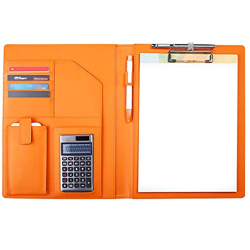 DAPTSY A4 Clipboard Folder Multi-Functional Business Padfolio Legal Writing Pad Document Folio Case PU Leather Resume Storage with Writing pad Notebook & Calculator - Orange