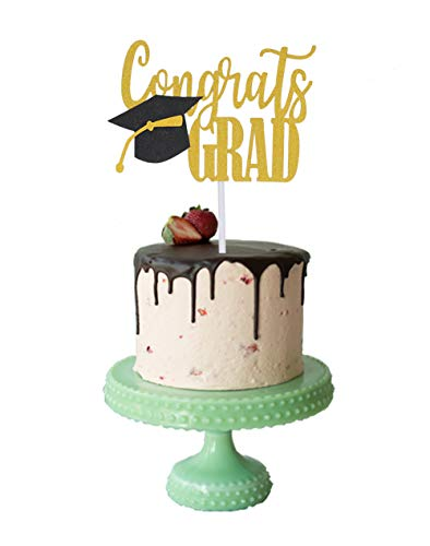 Double Sided Glitter Congrats GRAD Cake Topper for Graduation Party Decorations by Ucity