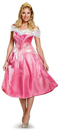 Disguise Women's Aurora Deluxe Adult Costume, Pink, (Deluxe Sleeping Beauty Dress)