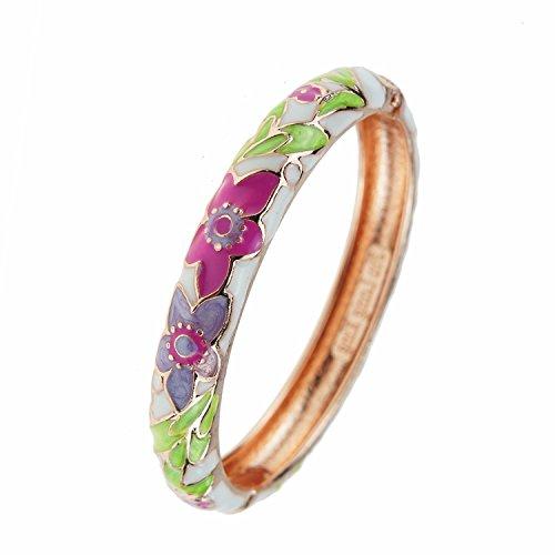 UJOY Fashion Bracelet Multi-Colors Enameled Gold Plated Hinge Spring Clasp Women Girls Jewelry Bangles - Fashion Hinge Bracelet