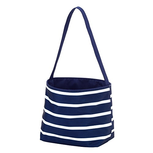 Polka Dot Stripe Fabric Bucket Basket Tote Toy Storage Container (Personalized, Navy -