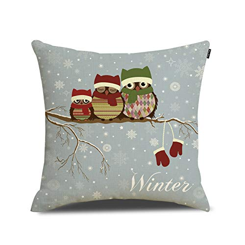 Merry Christmas Throw Pillow Cover Cute Owls Cushion Case Cotton Linen Material Decorative 18