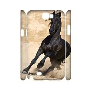 YananC(TM) YnaC192289 Custom 3D Cover Case for Samsung Galaxy Note 2 N7100 w/ Black Angel Horse