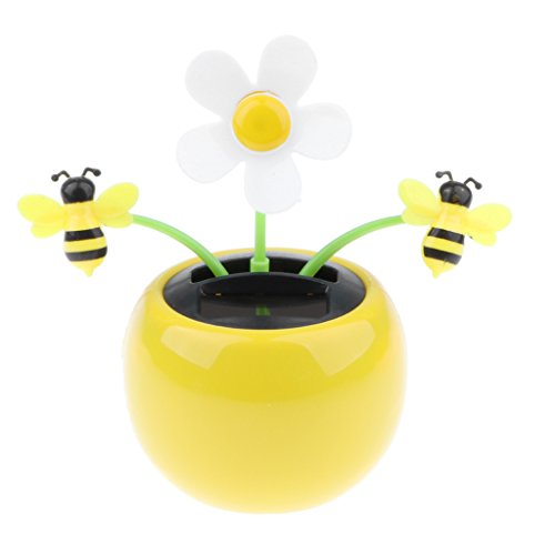 MagiDeal Solar Powered Flower Insect Dancing Doll Flip Flap Toy Home Decor Car Ornament Yellow Flowerpot Flower and Bee