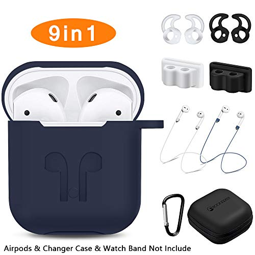 AirPods Case, Rockindeer 9 in 1 AirPods Accessories Set Protective Silicone Cover and Skin Compatible Apple AirPods Charging Case with Watch Band Holder/Ear Hook/Keychain/Strap/Carrying Box(Deep Blue)
