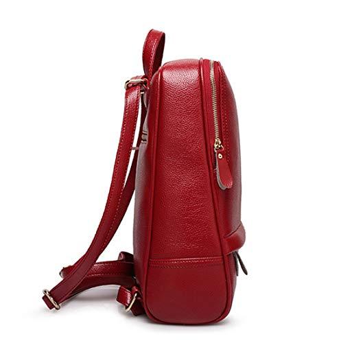 Per Wine Red Daypack Zipper Pu Modello Donna Impermeabile Zaino color Shopping Casual Red Olprkgdg Litchi ETwa7Cq