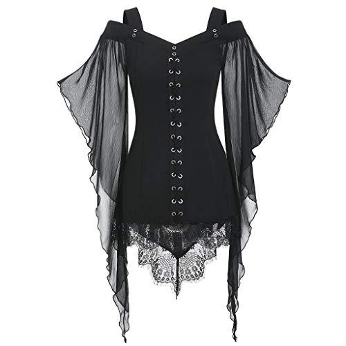 Halloween Criss Cross Puzzles (Xinantime Women Halloween Cosplay Custume Gothic Criss Cross Lace Insert Bat Sleeve T-Shirt Plus Size Tops)