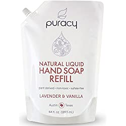 Puracy Natural Liquid Hand Soap 64 Ounce Refill, Sulfate-Free Hand Wash, Lavender and Vanilla, 64 Fluid Ounce Pouch