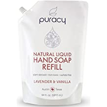 Puracy Natural Liquid Hand Soap Refill, Sulfate-Free Hand Wash Gel Refill, Lavender and Vanilla, 64 Fluid Ounce Pouch