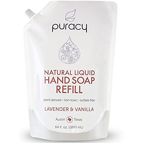 Puracy Natural Liquid Hand Soap 64 Ounce Refill, Sulfate-Free Hand Wash, Lavender and Vanilla, 64 Fluid Ounce - Pantry Raspberry