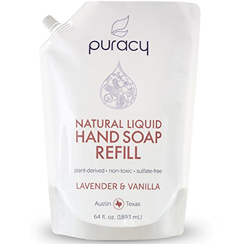 Puracy Natural Liquid Hand Soap Refill, Sulfate-Free Hand Wash Gel Refill, Lavender and Vanilla, 64 Fluid Ounce - All Soap Lavender 1