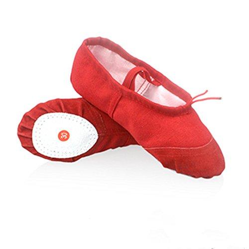 Kinder Tanzschuhe Weichen Ballettschuhe im Sommer und Herbst Erwachsene Üben Yoga Schuhe Tanzen Schuhe Katze Kralle Schuh,Rot,34