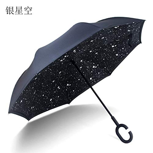 GGJYW Long Handle Cartoon Reverse Umbrella car Three Generations C-Type Non-Holding Reverse Umbrella Double Layer, Silver Star Sky (Under The Umbrella Diameter -