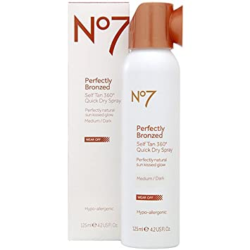 Boots No7 Perfectly Bronzed Self Tan 360 Degrees Quick Dry Spray – Medium Dark 4.2 oz