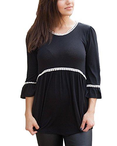 Auxo Blusas Algodón Mujer Casual Tops Manga 3/4 Camisa Grande Elegante con Encaje Verano Negro