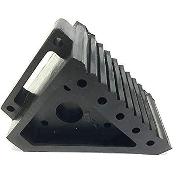 "MaxxHaul 70472 Solid Rubber Heavy Duty Black Wheel Chock, 8"" long x 4"" wide x 6"" high - 2 Pack"