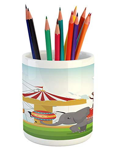 (Ambesonne Carnival Pencil Pen Holder, Monkey and Elephant in a Circus Theme Park Festive Costumes Details Celebration, Printed Ceramic Pencil Pen Holder for Desk Office Accessory,)