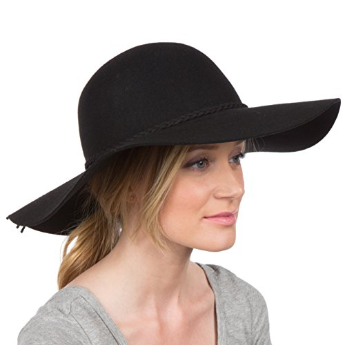 Sakkas 2041SS Greta Vintage Style Wool Floppy Hat - Black - One Size - Felt Floppy Hat