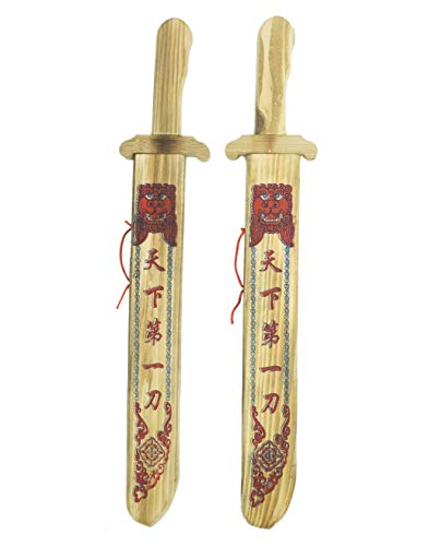 - The Warm Hearth Set of Two Toy Wooden Chinese Broadsword with Sheath