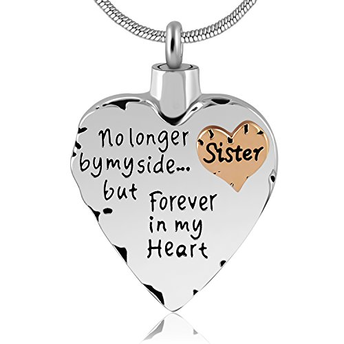Eternally Loved Unisex No Longer by My Side But Forever in My Heart Dad&Mom Cremation Ashes Urn Pendant Necklace (Sister)