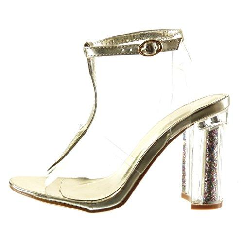Angkorly - damen Schuhe Sandalen - T-Spange - Sexy - transparent - glitzer - String Tanga Blockabsatz high heel 10 CM - Gold