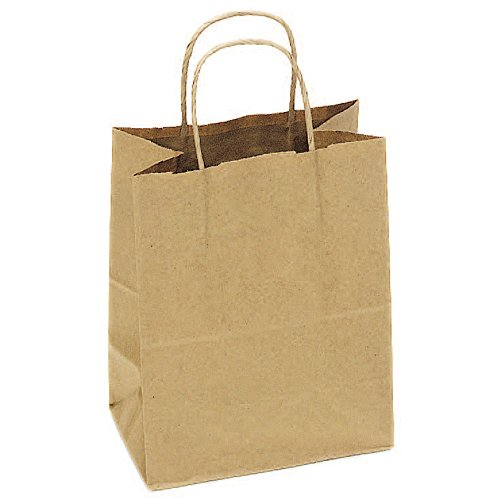 JAM Paper Shopping Bag - Medium - 10'' x 7'' x 12'' - Natural Brown Kraft - 250/pack by JAM Paper