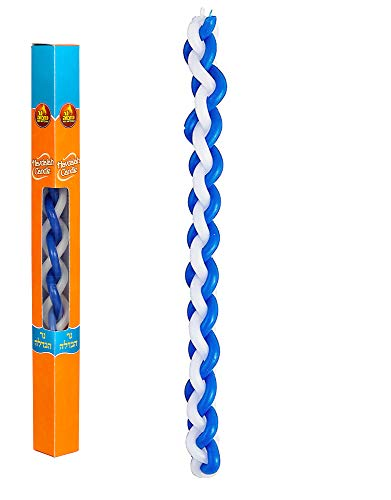 Ner Mitzvah Braided Havdalah Candle - Round Blue and White Paraffin Wax - Handcrafted Havdallah Candle - Shabbat Judaica Gift
