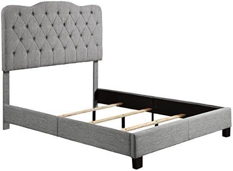 Millbury Home Elian Linen Upholstery Platform, Queen, Grey