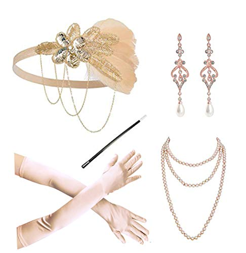 (1920s Flapper Gatsby Costume Accessories Set 20s Flapper Headband Pearl Necklace Gloves Cigarette)