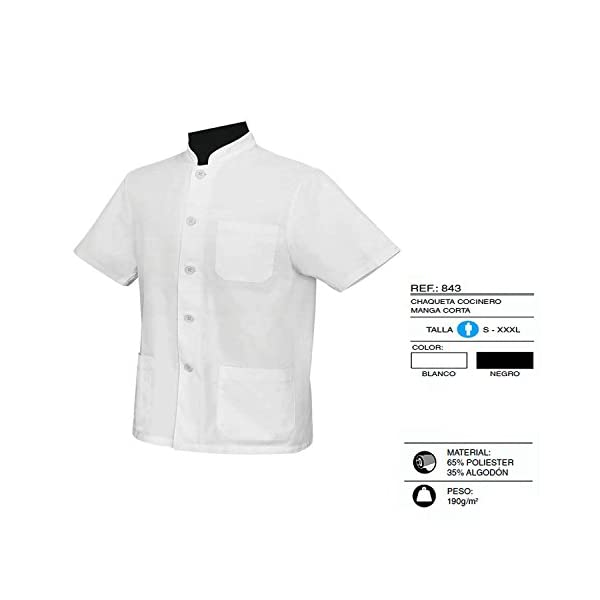 MISEMIYA - Chaquetas Uniformes Chef Cocinero DE Bar Restaurante con Mangas Cortas - Ref.843 4