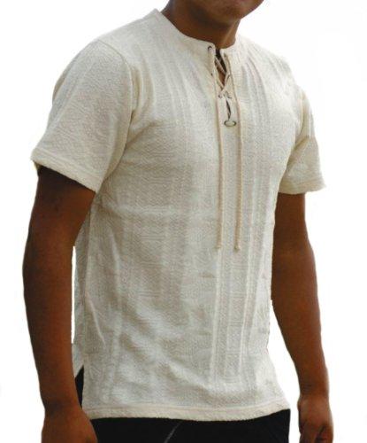 Alpacaandmore Natur weißes Herren Sommer Kurzarm Shirt Polo Shirt 100% ökologische Pima Baumwolle Biobaumwolle