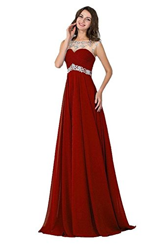 Prom Long Dress Chiffon Crystal Waist Beaded Burgundy Women's Empire Dobelove 7Bqa0a