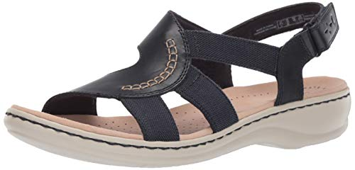 CLARKS Women's Leisa Joy Sandal, Navy Leather/Textile Combo, 070 W US ()