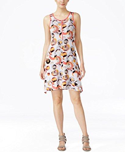 Kensie Printed Sleeveless A-line Dres Hot Coral Combo Xs - Kensie Girl Printed