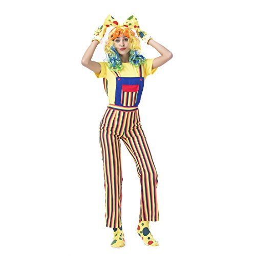 Overall Costumes Women (Slocyclub Circus Clown Costume Rainbow Stripe Overalls for Women)