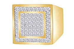 1 Carat (Ctw) White Natural Diamond Square Band Ring In 14k Solid Gold