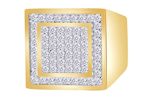 1 Carat (Ctw) White Natural Diamond Hip Hop Jewelry Square Frame Band Ring In 14k Solid Yellow Gold Ring Size-11 (14k Yg Frame)