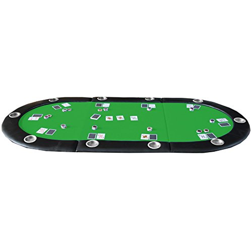 84'' 10 Player Texas Hold'em Folding Poker Table Top Green with Carrying Bag by IDS (Image #1)