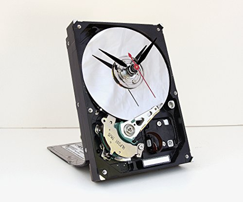 computer parts clock, Recycled Computer Hard Drive Clock, computer geek gift, steampunk clock, industrial design clock, re purposed computer parts - Steampunk Tech