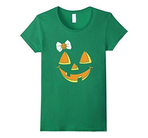 Womens Funny Pumpkin Face Halloween T-shirt XL Kelly (Mean Halloween Pumpkin Face)