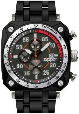 Zippo Chronograph Sports Watch with Black Dial and Black Stainless Steel Band
