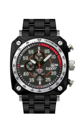 Chronograph Square Dial Watch (Zippo Chronograph Sports Watch with Black Dial and Black Stainless Steel Band)