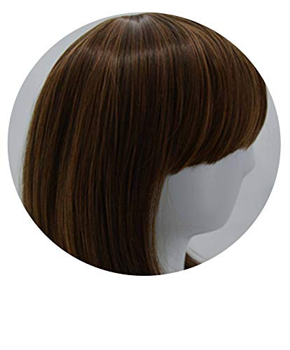 Carnival Wig Synthetic Heat Resistant Inclined Bangs Hair Short Black Wavy Halloween Hair Costume Cos-play Hairpiece,1B/30HL,14inches