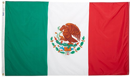 Annin Flagmakers Model 195706 Mexico Flag 3x5 ft. Nylon SolarGuard Nyl-Glo 100% Made in USA to Official United Nations Design Specifications.