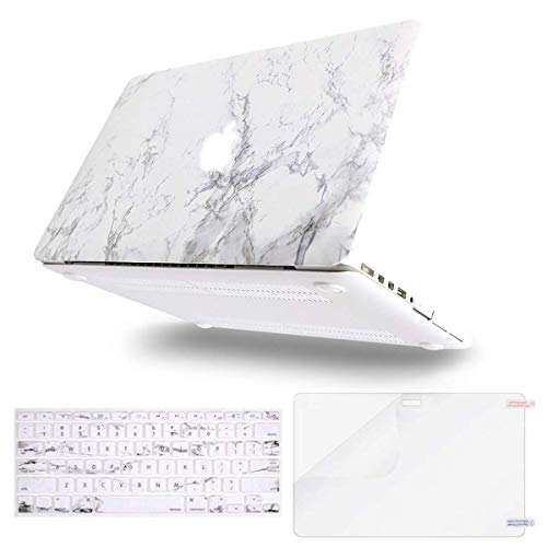 MOSISO Case Only Compatible Older Version MacBook Pro Retina 13 Inch (Model: A1502 & A1425)(Release 2015 - end 2012), Plastic Pattern Hard Shell&Keyboard Cover&Screen Protector, White Marble