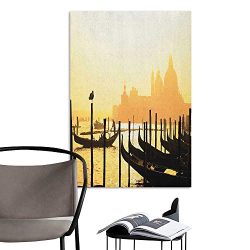 Jaydevn Stickers Wall Murals Decals Removable Venice Romantic Italian City at Sunrise Line of Gondolas Lagoon and Basilica Silhouette Mustard Black Rental House Wall W24 x H36