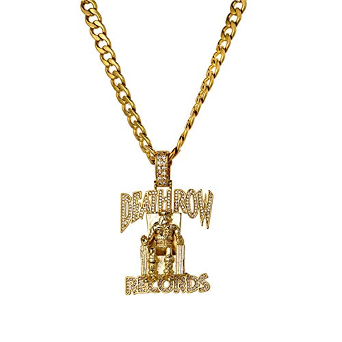 L&H Hip-hop Necklace Personality Micro-inlaid Zircon DEATHROW Prisoner Pendant with Stainless Steel Twisted Chain for Friends Wedding Anniversary Birthday Gift,Gold